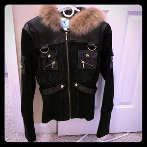 Amazing Marciano Fur Trim Suede Ribbed Knit Jacket
